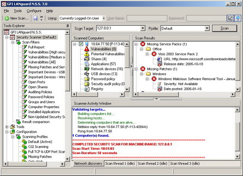 GFI LANguard Network Security Scanner 7.0. Скачать бесплатно.