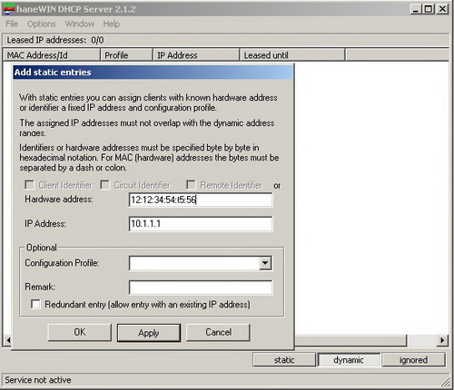 haneWIN DHCP Server 2 1 - Сетевые сервисы - Программы