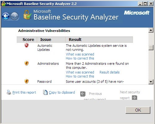 Программа проверки безопасности операционных систем семейства  Windows Microsoft Baseline Security Analyzer. Скачать бесплатно.